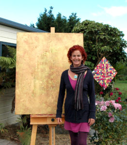 "artist with her work ""transition"""